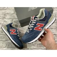 New Balance 574 Blue/Red замшевые